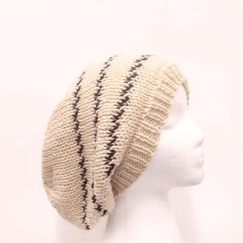 Oversized beanie beige hat knitted men or women large size 5292