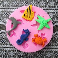 Fish Dolphin Crab Baking Fondant Cake Choclate Candy Mold, Picture Frame Shaped Bake Fondant cake mold