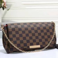 LV Women Shopping Leather Tote Handbag Shoulder Bag  Coffee grid