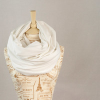Oversized White Infinity Scarf, Extra Wide Cowl Scarf, Hooded White Circle Scarf, Extra Large Jersey Circle Shawl Scarf, Large Scarves