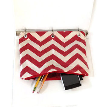 Red Chevron Organizing Case for 3 Ring Binder Pencil Case Back to School Ready to Ship School Supplies Kids Gift