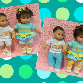"""American Girl BITTY TWINS clothes Bitty Baby clothes """"Two Just Ducky"""" (15 inch) Boy and Girl Twins Set big sister little sister gift"""