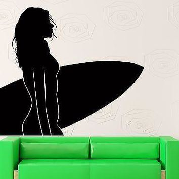 Wall Sticker Vinyl Decal Surfing Sexy Girl With Surfboard Ocean Decor  Unique Gift (z1043)