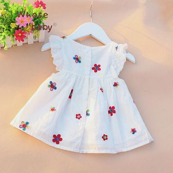 Causal Summer Baby Girl Dress Flower Fruit Dresses For Girls Cotton Print SleevelessDress High Quality Holiday Princess Clothing