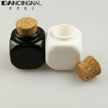 Nail Art Manicure Tool Mini 10ml Ceramic Glass Dappen Dish Bottle Acrylic Liquid Glitter Powder Bowl Cup Container With Wood Lid