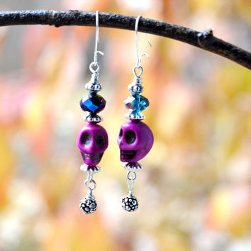 Small Purple and Silver Skull Earrings