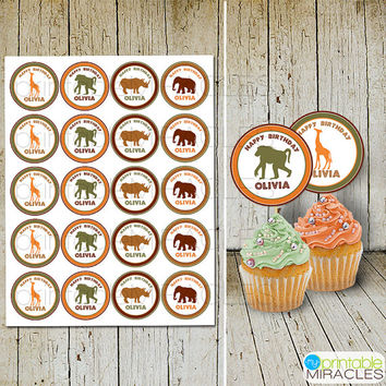Zoo birthday decoration, Safari party cupcake toppers, Jungle party round digital stickers, Orange brown green 2 inch circles