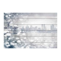 "Parvez Taj | Down Town White Wood Wall Art - 36"" x 24"" 