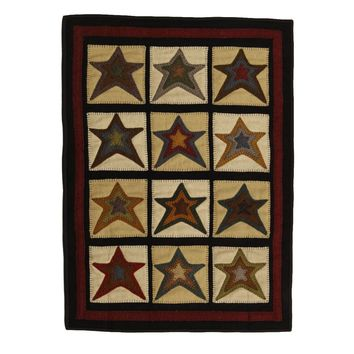 Star Patch Cream Applique Wool Penny Rectangle Rug