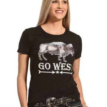 Angel Premium Women's Two-Way Sequin Go West Tee
