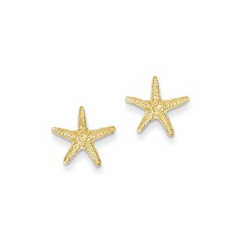 14k Yellow Gold Starfish Post Earrings