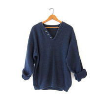 vintage navy blue sweater. slouchy sweater. henley sweater. boyfriend sweater