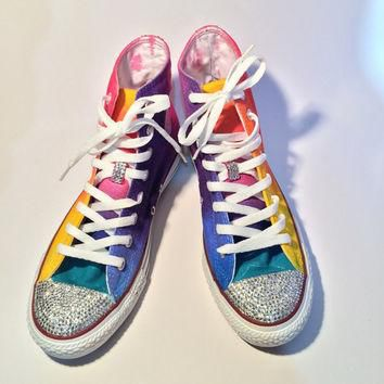 Rainbow Rhinestone Converse Shoes