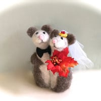 Fall wedding cake topper fall wedding decorations fall wedding bouquet fall wedding centerpiece autumn bride and groom Mr and Mrs mouse mice