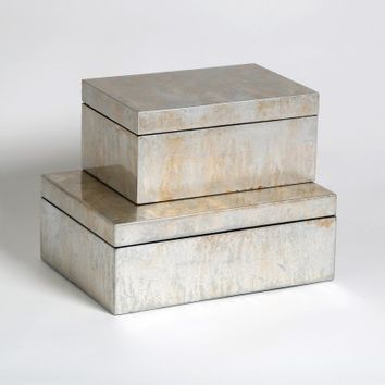 Champagne Silver Leaf Box - Decorative Boxes & Baskets at Hayneedle