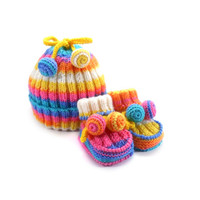 Knitted Baby Hat and Booties - Orange, Blue, White and Yellow, 6 - 12 month