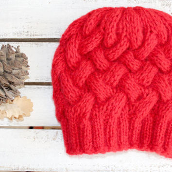 Red  Beanie Hat , Oversized hat , Gray knit hat women , Red beanie women - Valentine's Day - Love - Romantic