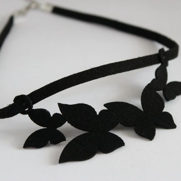 Butterfly choker necklace, Butterfly velvet necklace, Cutwork choker necklace, choker, choker gift, leather choker necklace
