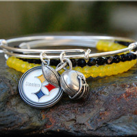 Steelers Fan Expandable Bangle bracelet Stack, Pittsburg Steelers Jewelry, Silver Football Bangle, stacking bangle, adjustable bangle