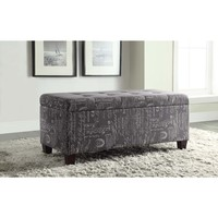 Linon Carmen Script Upholstered Shoe Storage Ottoman | Overstock.com Shopping - The Best Deals on Ottomans