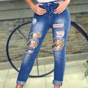 Blue Patchwork Sequin Cut Out Button Fly Boyfriend Nine's Jeans