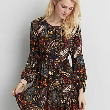 AEO Keyhole Back Printed Dress , Clouded Ink