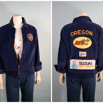 Vintage 70s Oregon FFA Jacket/Bowling Suzuki Rev 500 Pepsi Patches/ Blue Corduroy Unisex Zip Front Motorcycle Jacket/Hipster Street Wear Top