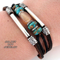 Beautiful agate and turquoise bead leather bracelet from Urban Zen Jewelry Boutique