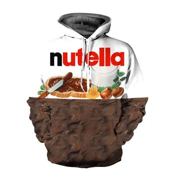 2018 New Fashion Brand Pullovers 3D Sweatshirts Hoodies Women/Men Hoodie Print Nutella Food Hip Hop Casual Style Tops