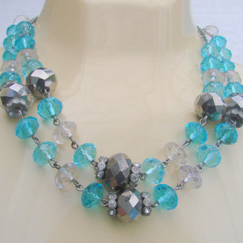 80s Vintage Trifari Aqua Blue Crystal Rhinestone Bead Necklace / Jewelry / Jewellery / Designer Signed
