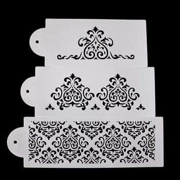 3PCS Cake Biscuit Stencil Bakery Tool Fondant Mold Crown King Princess Queen Bakeware Baking Fondant Cake Stencil Template Mold