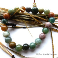 Stretch cord and adjustable Jasper stone bracelet. Wrist mala jewelry.