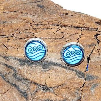 Avatar earrings cufflinks, Avatar the Last Airbender, Avatar Water tribe logo, Avatar Water emblem cufflinks, Avatar symbol, Avatar patch,