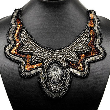 Gray Sequins Beaded Crystal Chain Statement Collar Necklace