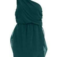 Emerald one shoulder dress - View All - Dresses - Dorothy Perkins