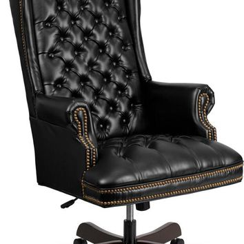 High Back Traditional Fully Tufted Black Leather Executive Swivel Ergonomic Office Chair with Arms [CI-360-BK-GG]