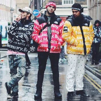 Original Supreme X North Face By Any Means Necessary Thick Winter Jacket