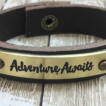 Brown Leather Cuff, Stamped Cuff, Adventure Bracelet, Bohemian Cuff, Gypsy Cuff, Hippie Bracelet, Inspiration Bracelet, Boho Hippie, Travel