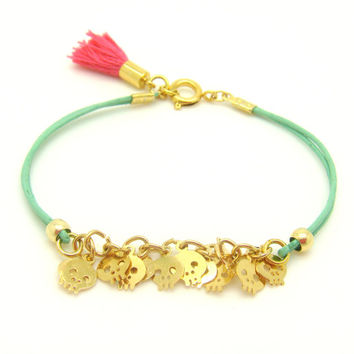 Tiny Skull Bracelet  Pastel Mint Leather W/ Tiny Gold by minifabo