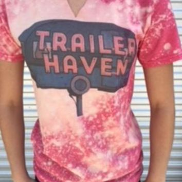 "Gina ""Trailer Haven"" Red Heather Bleached Cut V Tee"