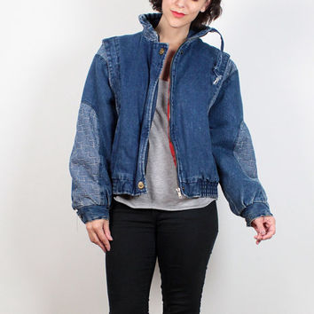 Vintage 80s Bomber Jacket Puffy Denim Jacket Red Plaid Flannel Shirt Lined Jean Jacket Puffer Coat 1980s Stripe Patchwork Denim M L Large XL