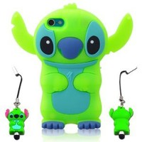 I Need 3d Blue Stitch & Lilo Ipod Touch 5 Soft Silicone Case Cover with 3d Stitch Stylus Pen for Itouch 5g 5th Generation - Green