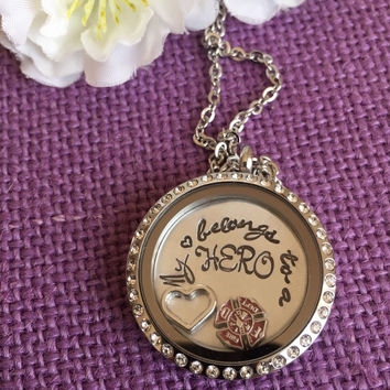 My heart belongs to a Firefighter - My Hero - Fireman wife Locket - Firefighter wife - Locket Necklace - Floating Locket