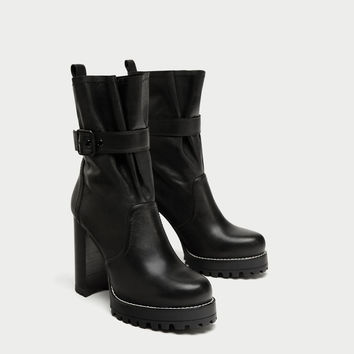 LEATHER HIGH HEEL ANKLE BOOTS WITH BUCKLE