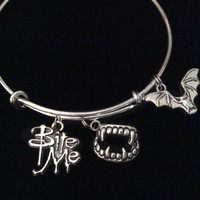 Bite Me Charm with Vampire Teeth Bat Silver Expandable Charm Bracelet Halloween Costume Hostess Gift Adjustable Wire Trendy Stackable Bangle