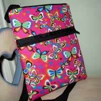 Butterflies are Free Cross-Body Hipster Bag including Matching Key Fob