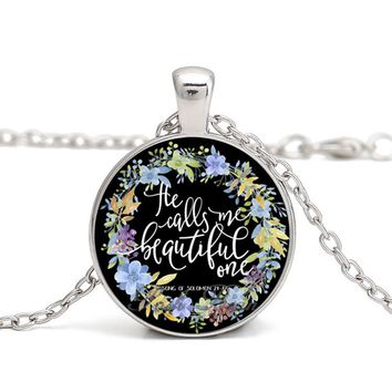 Bible Verses Glass Cabochon Necklaces Pendants The Chapter of The Bible Pattern Glass Pendant Blessing for Your Love Series 2