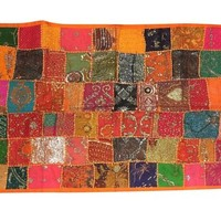 Indian Tapestry Colorful Sequin Embroidered Patchwork Table Runner Wall Decor