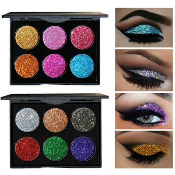 HANDAIYAN 6 Colors Diamond  Eyeshadow Pallete Glitter Maquiagem Profissional Completa Make Up Palette Cosmetics Eye Shadow