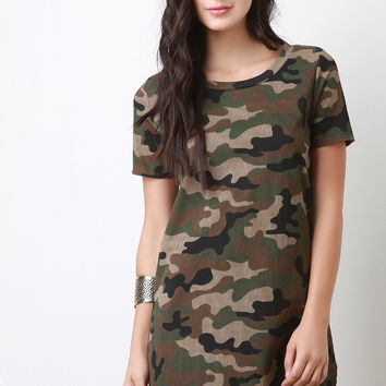 Thermal Camouflage Print Short Sleeves Tunic T-Shirt Dress